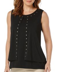 Rafaella Missy Solid High Twist Layered Sleeveless Top With Grommets - Black