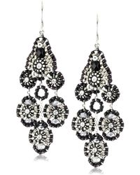 Miguel Ases Jet And Sterling Silver Small Station Dangle Earrings - Black