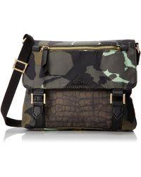 Sam Edelman Sam Edleman Sporty Chic Nylon Print Cross Body Bag,black/olive Camo,one Size