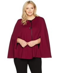 Nine West Plus Size Solid Ponte Jacket With Leather Trim - Red