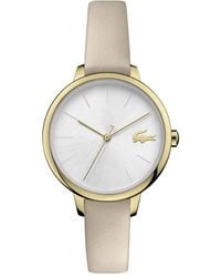 Lacoste Cannes Stainless Steel Quartz Watch With Leather Calfskin Strap - Metallic