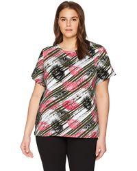 Rafaella Plus Size Printed Embellished Knit Tee - Multicolor