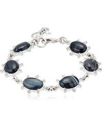 Lucky Brand Black Agate Flex Bracelet - Metallic