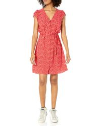 Goodthreads Fluido Twill Tulip iche Tie-Waist Vestito Dresses - Rosso