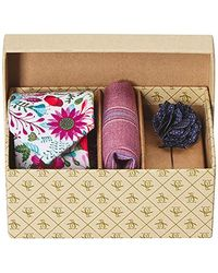 Original Penguin - Sommers 3-piece Floral Tie, Pocket Square & Lapel Pin Box, Magenta, One Size - Lyst