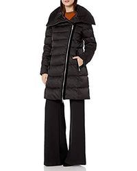 T Tahari Heavy Weight Asymetrical Zipper Closure Puffer Coat - Black