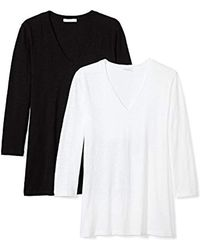 Daily Ritual - Lived-in Cotton Slub 3/4-sleeve V-neck T-shirt - Lyst