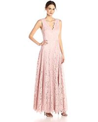 Vera Wang - Sleeveless Double Vneck Scallop Lace Long Fit & Flare Dress - Lyst