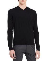 Calvin Klein Merino Sweater V-neck Solid - Black