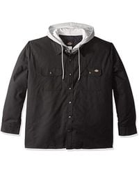 Dickies Relaxed Fit Hooded Duck Quilted Shirt Jacket - Black