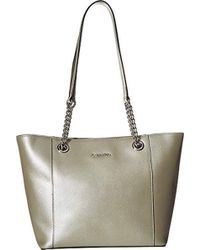 Lyst - Calvin Klein On My Corner Saffiano Leather Small Tote in Black 49b5fe1c5f4