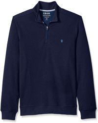 Izod Fit Advantage Performance Quarter Zip Fleece Pullover - Blue