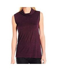 Two By Vince Camuto S/l Slub Space Dye Cowlneck Tunic - Purple