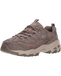 Skechers D'lites New School Womens Other Leather Material Trainers Dark Taupe - 4 Uk - Brown