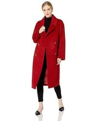Badgley Mischka Mid Length Double Breasted Wool Coat - Red
