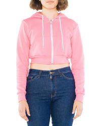 American Apparel Flex Fleece Cropped Long Sleeve Zip Hoodie - Pink