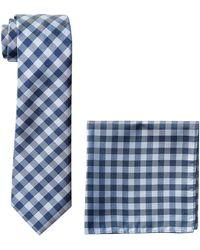 Nautica Stripe Tie & Pocket Square Set Krawatte - Blau
