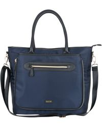 """Kenneth Cole Reaction Silky Polyester Top Zip Anti-theft Rfid Expandable 15"""" Laptop & Tablet Business Tote - Blue"""