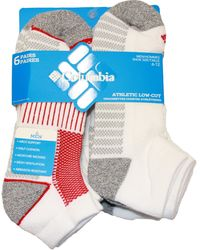 Columbia Low-cut Mesh Top Arch Support Poly-blend Socks 6 Pair, M10-13, White/red