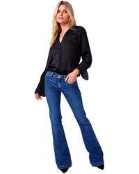 PAIGE Genevieve Transcend High Rise Flare Jean - Blue