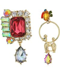 Betsey Johnson - S Multi And Gold Dog Non-matching Earrings - Lyst