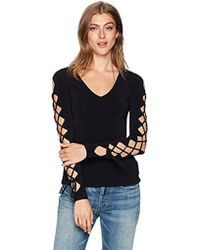 Bailey 44 Stagecoach Lace Up Sleeve Sweater - Black