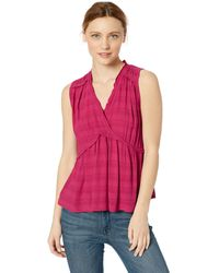 Lucky Brand Solid Sleeveless Romantic Ruffle Top - Multicolor