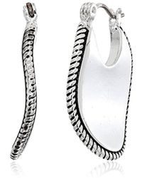 Napier - Silver-tone With Antique Wide Hoop Earrings - Lyst