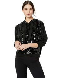 Parker Nolan Long Sleeve Sequined Hooded Sweater - Black