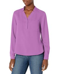 Nine West Long Sleeve Blouse With Patch Pockets - Purple