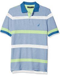 Nautica Classic Fit Striped Polo - Blue