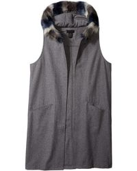 Steve Madden Texttured Woven Long Midi Vest With Faux Fur Hood - Gray
