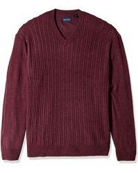 Dockers Long Sleeve V-neck Sweater - Purple