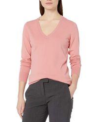 Lark & Ro Premium Viscose Blend Long Sleeve V-neck - Pink