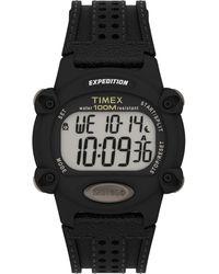 Timex Expedition Digital Cat 39mm Quartz Leather Strap - Black