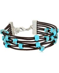 Lucky Brand - Leather With Turq Beads Bracelet - Lyst
