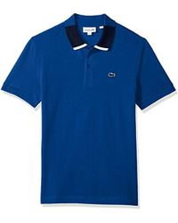 Lacoste - Short Sleeve Petit Pique Color Block Collar Reg Fit Polo, Ph7221 - Lyst
