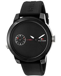 Tommy Hilfiger - 'denim' Quartz Plastic And Rubber Casual Watch, Color:black (model: 1791326) - Lyst