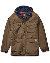 Volcom Renton Winter Teflon Hooded Parka Jacket - Brown