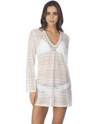 Kenneth Cole Reaction To The Beat V-neck Long Sleeve Crochet Cover Up Tunic With Fringe Detail - White