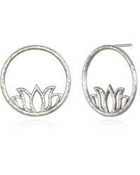 Satya Jewelry Lotus Earrings Hoop Earring - Metallic