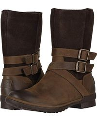 ccf6e7272d7 UGG Lorna Genuine Shearling Lined Wedge Boot in Black - Lyst