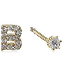 Tai - Gold Initial Stud Earrings - Lyst