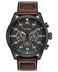 Citizen - Avion Stainless Steel Quartz Leather Calfskin Strap, Brown, 22 Casual Watch (model: Ca4215-47e) - Lyst