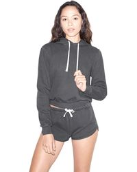 American Apparel French Terry Mid-length Long Sleeve Hoodie - Black