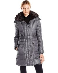Vince Camuto Belted Down Coat With Utility Pockets And Faux-fur Collar - Gray