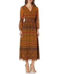 James & Erin Peasant Sleeve Deep Vneck Maxi Dress - Brown