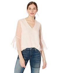 Calvin Klein - Small Gingham V-neck Ruffle Sleeve - Lyst