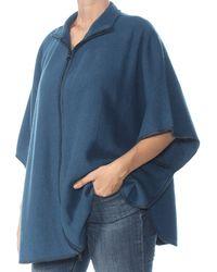 Anne Klein Size Plus Boiled Wool Zip Front Cape - Blue