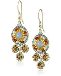 Miguel Ases Neutral And Swarovski Triple Circle Small Drop Earrings - Brown